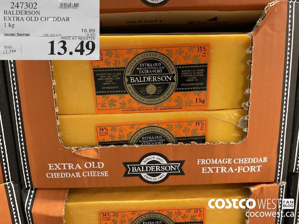 247302 BALDERSON EXTRA OLD CHEDDAR 1 kg EXP. 2020-12-06 $13.49