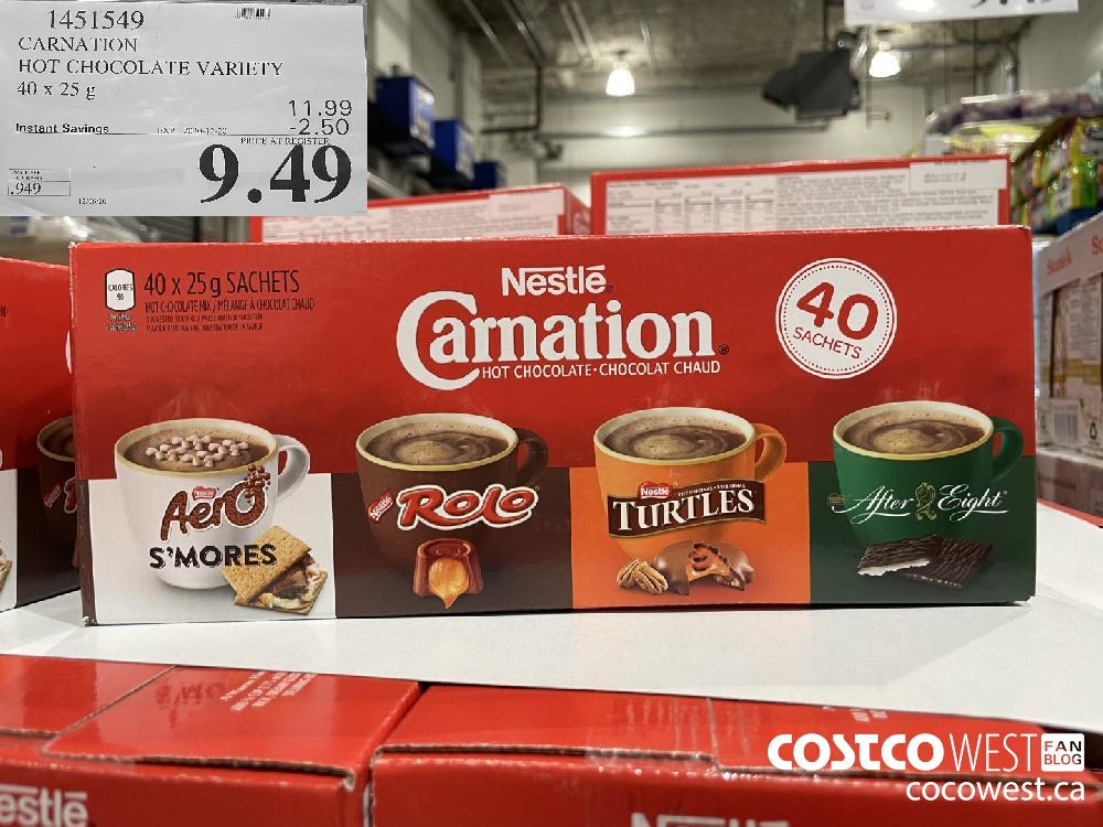 1451549 CARNATION HOT CHOCOLATE VARIETY 40 x 25g EXP. 2020-12-20 $9.49