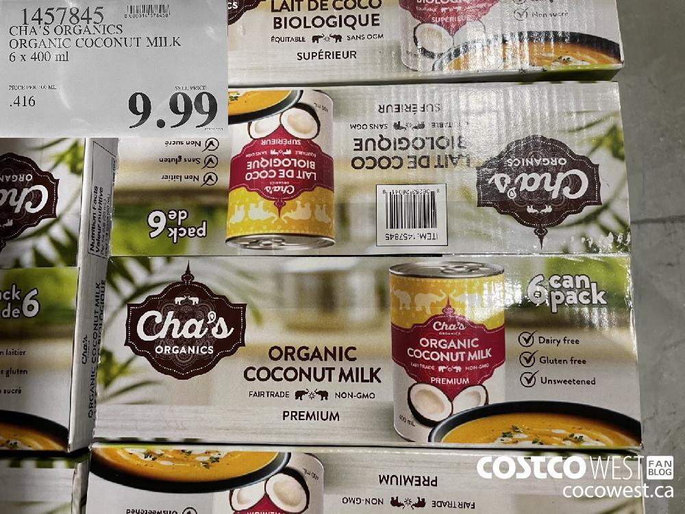 1457845 CHA'S ORGANICS ORGANIC COCONUT MILK 6 x 400 ml $9.99