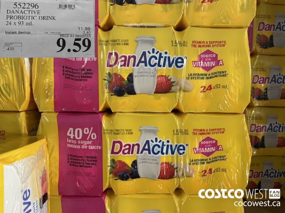 552296 DANACTIVE PROBIOTIC DRINK 24 x 93 mL EXP. 2020-12-06 $9.59