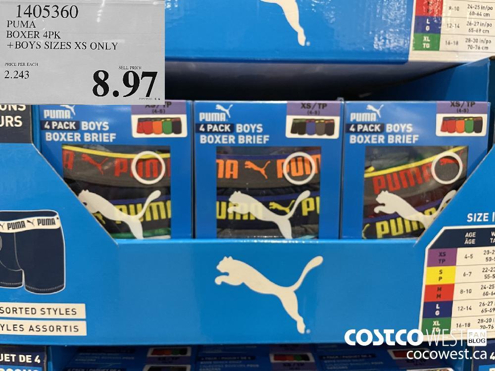 1405360 PUMA BOXER 4PK BOYS SIZES XS ONLY $8.97