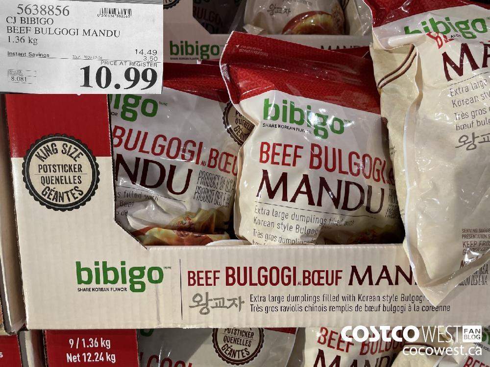 5638856 CJ BIBIGO BEEF BULGOGI MANDU 1.36 kg EXP. 2020-12-06 $10.99