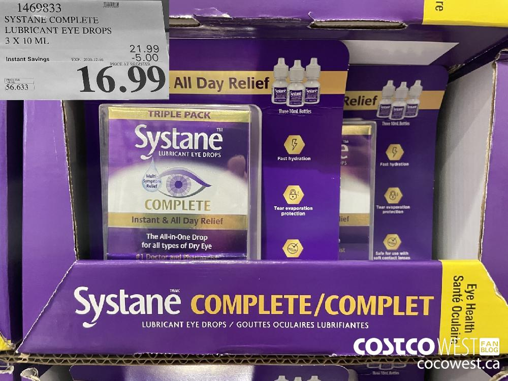 1469833 SYSTANE COMPLETE LUBRICANT EYE DROPS 3 X 10 ML EXP. 2020-12-06 $16.99