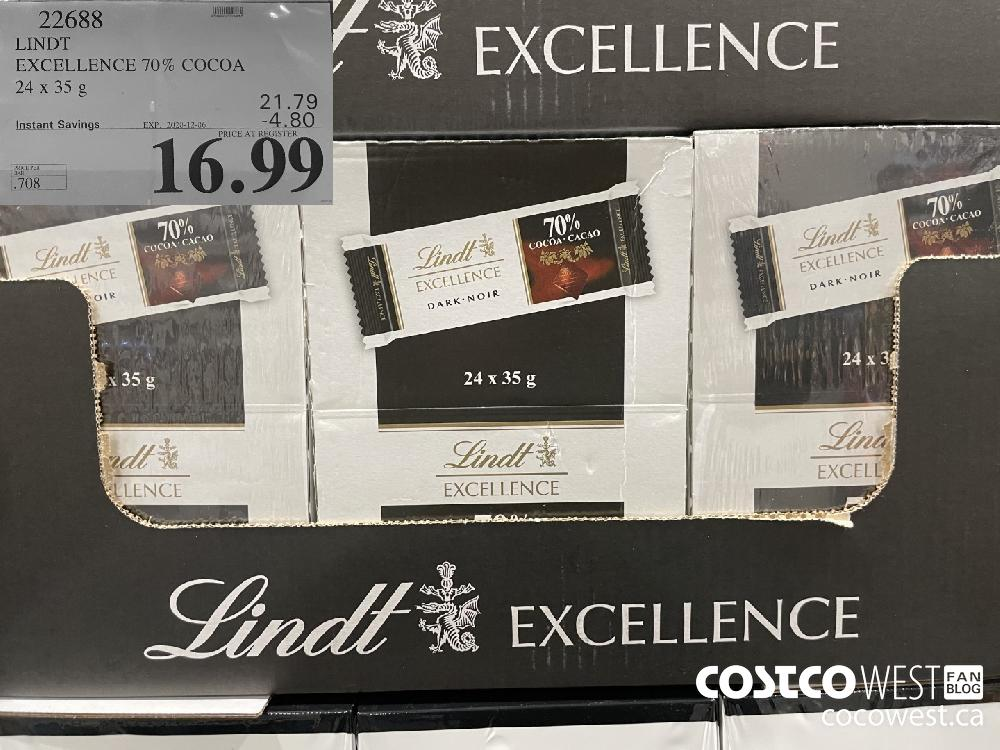 22688 LINDT EXCELLENCE 70% COCOA 24x35 g EXP. 2020-12-06 $16.99