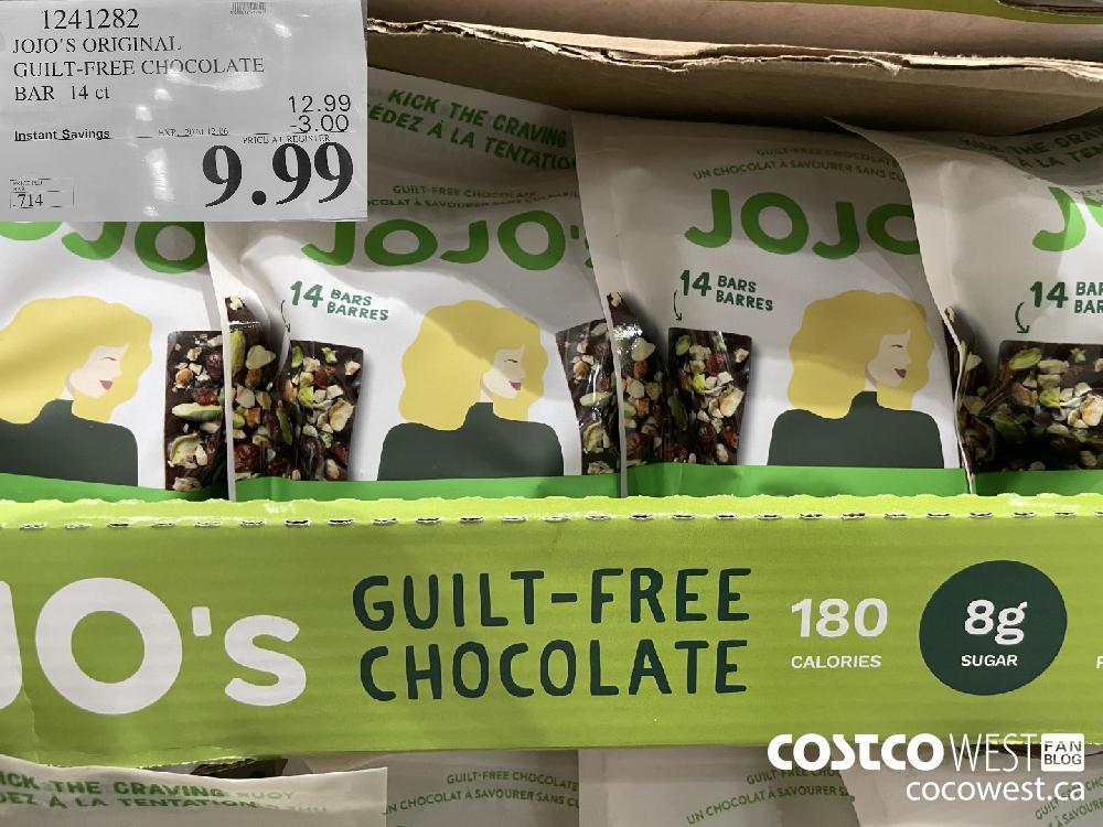 1241282 JOJO'S ORIGINAL GUILT-FREE CHOCOLATE BAR 14 ct EXP. 2020-12-06 $9.99