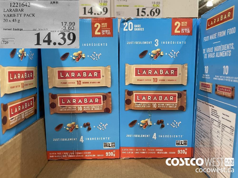 1221642 LARABAR VARIETY PACK 20 x 45 g EXP. 2020-11-29 $14.39
