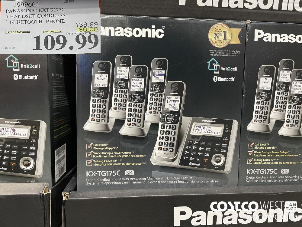 1999664 PANASONIC KXTG175C 5-HANDSET CORDLESS BLUETOOTH PHONE EXP. 2020-12-06 $109.99