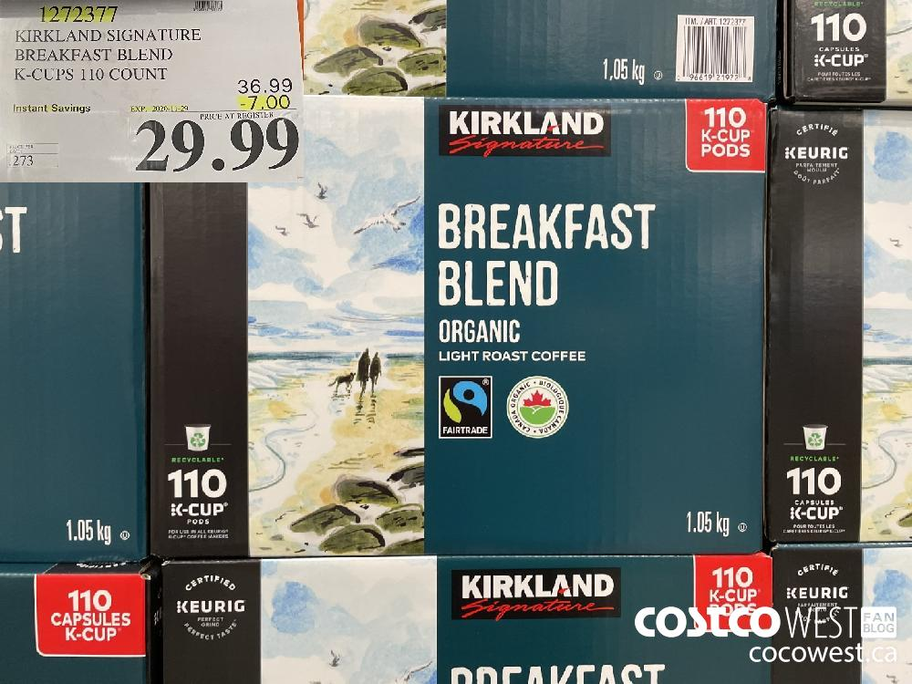 1272377 KIRKLAND SIGNATURE BREAKFAST BLEND K-CUPS 110 COUNT EXP. 2020-11-29 $29.99