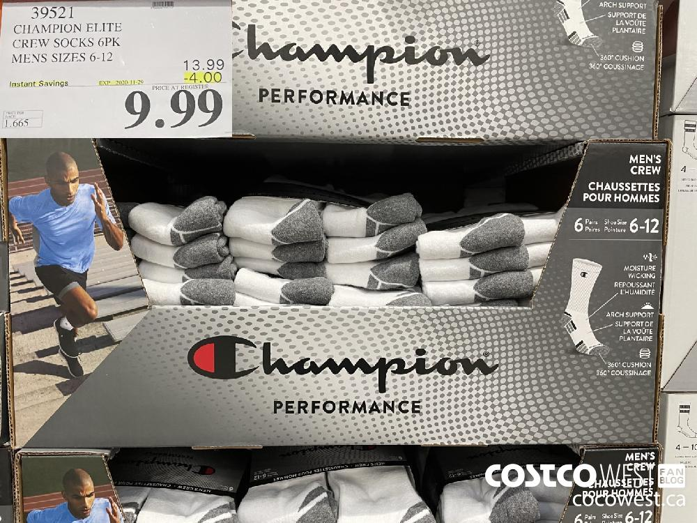 39521 CHAMPION ELITE CREW SOCKS 6PK MENS SIZES 6-12 EXP. 2020-11-29 $9.99