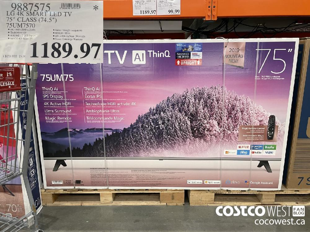 "9887575 LG 4K SMART LED TV 75"" CLASS:(74.5"") 75SUM7570 $1189.97"