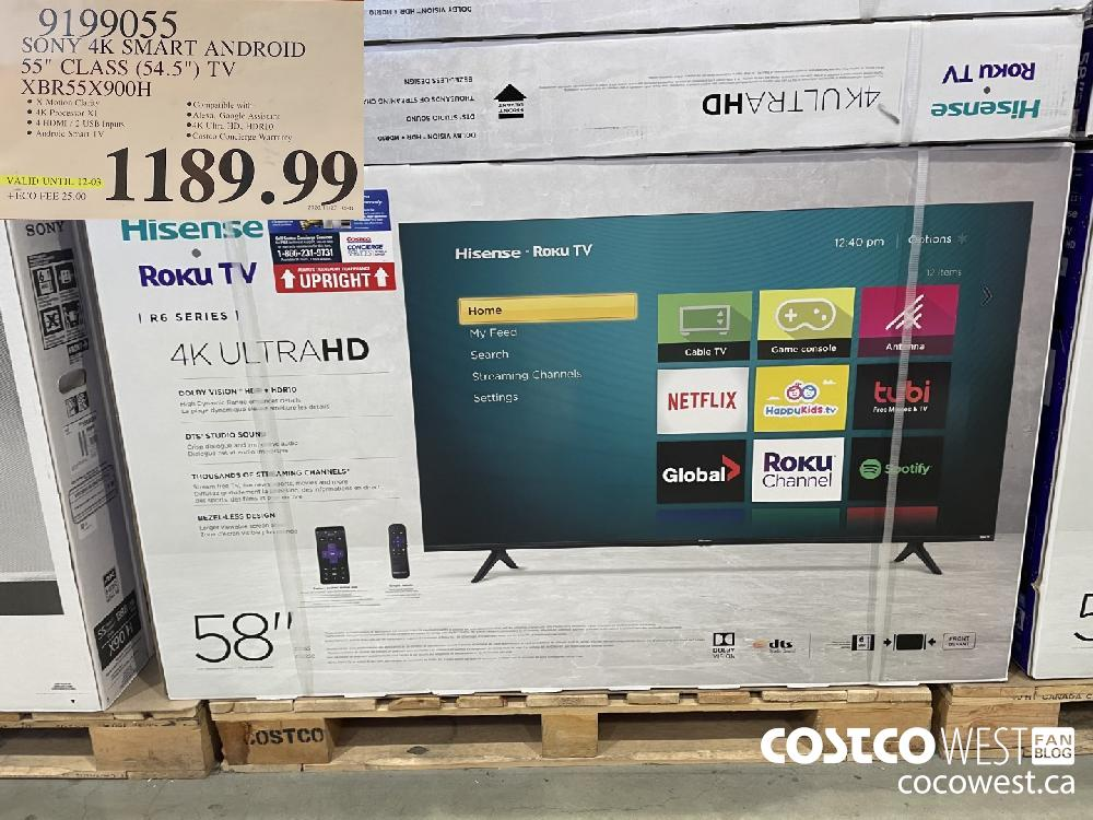 "9199055 SONY 4K SMART ANDROID 55"" CLASS (54.5"") TV XBR55X900H $1189.99"