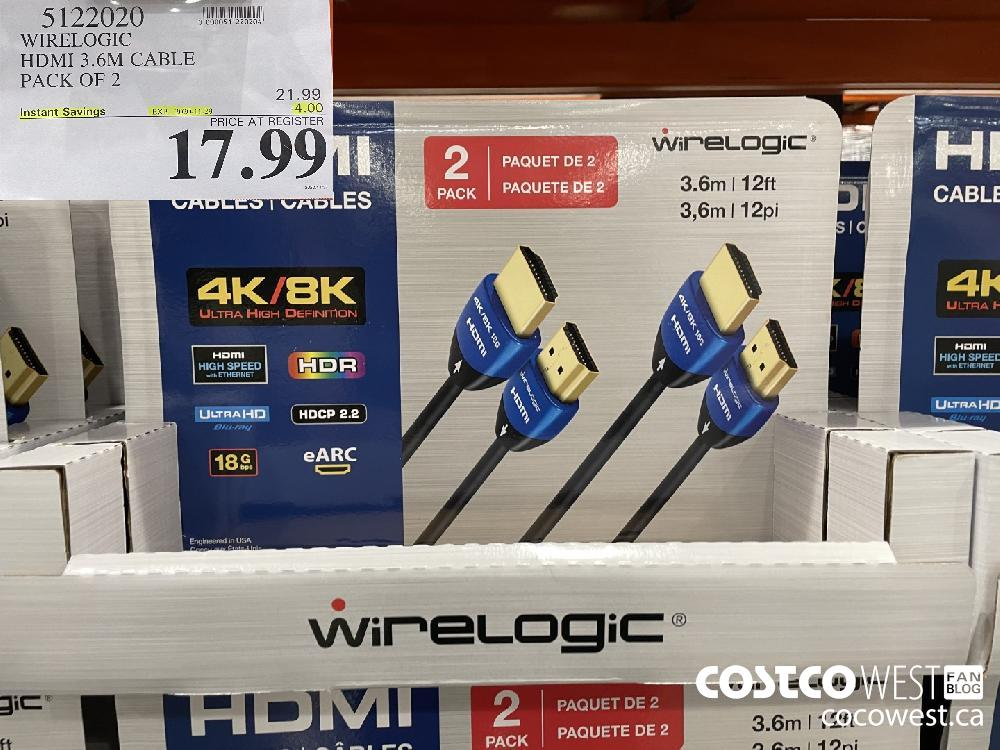 5122020 WIRELOGIC HDMI 3.6M CABLE PACK OF 2 EXP. 2020-11-29 $17.99