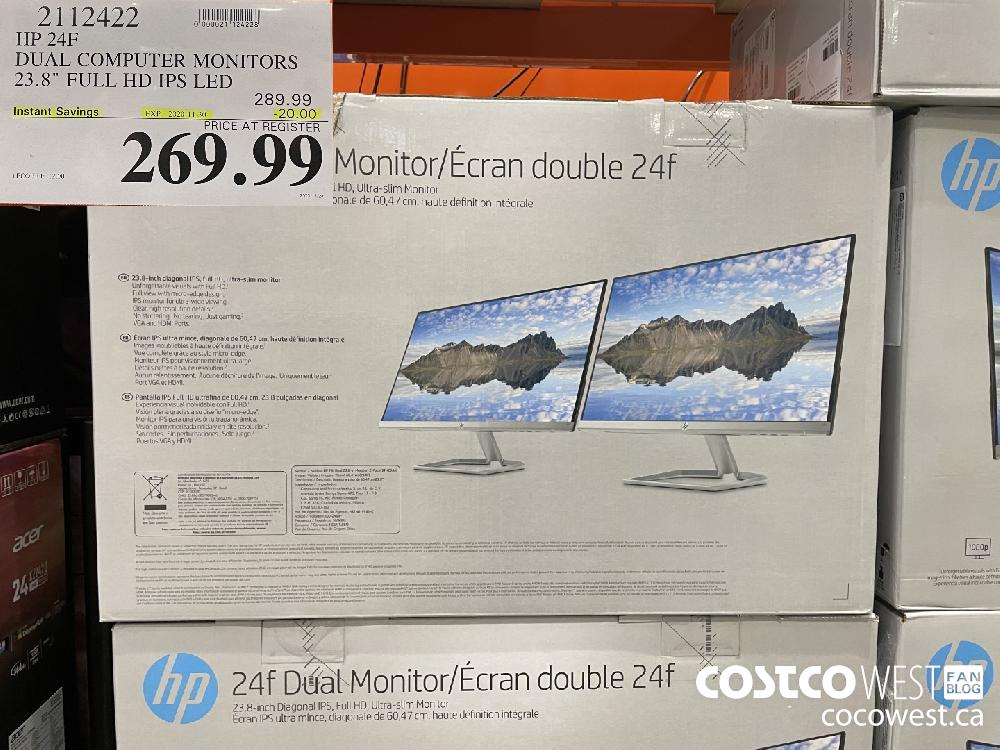 "2112422 HP 24F DUAL COMPUTER MONITORS 23.8"" FULL HD IPS LED EXP. 2020-11-30 $269.99"