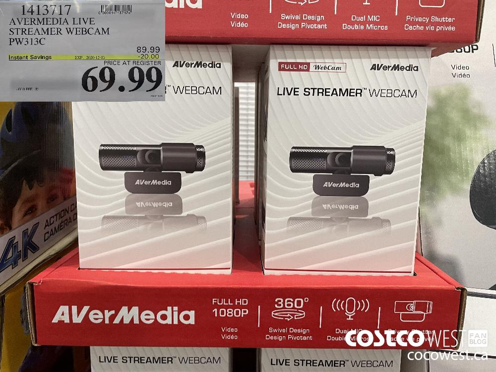 1413717 AVERMEDIA LIVE STREAMER WEBCAM PW313C EXP. 2020-12-03 $69.99