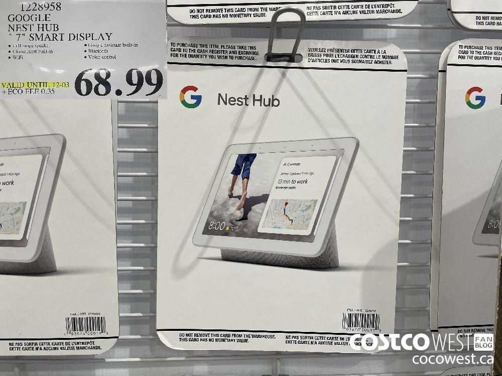 "1228958 GOOGLE NEST HUB 7"" SMART DISPLAY VALID UNTIL 12-03 $68.99"