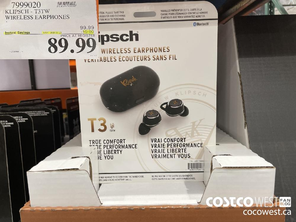 7999020 KLIPSCH - T3TW WIRELESS EARPHONES EXP. 2020-11-30 $89.99