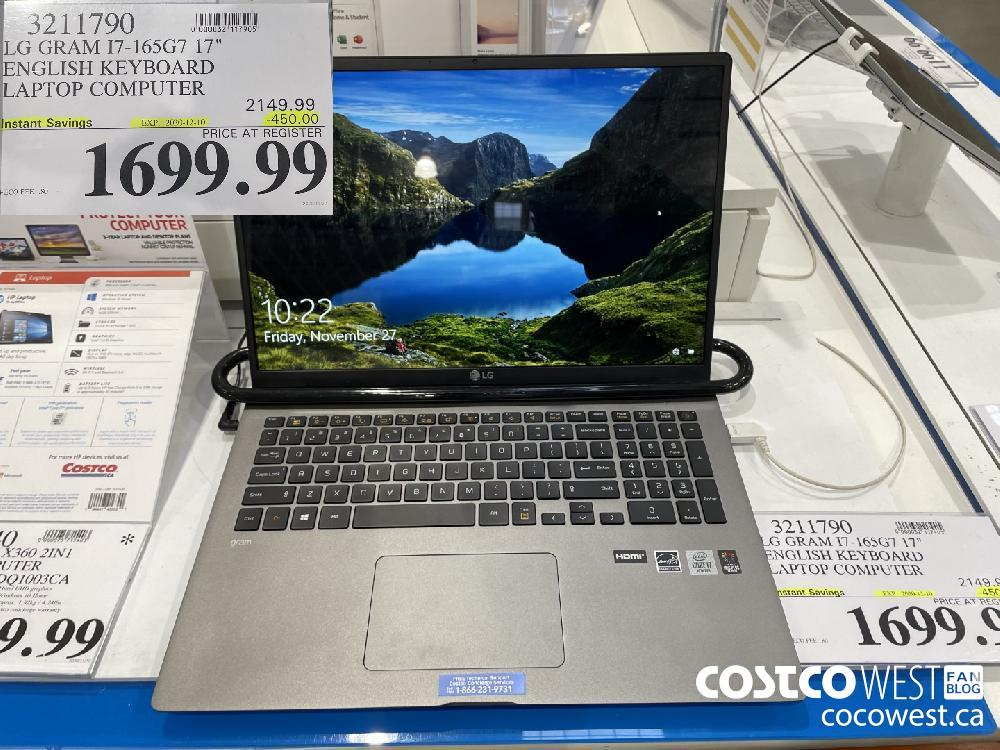 "3211790 LG GRAM I7-165G7 17"" ENGLISH KEYBOARD LAPTOP COMPUTER EXP. 2020-12-10 $1699.99"