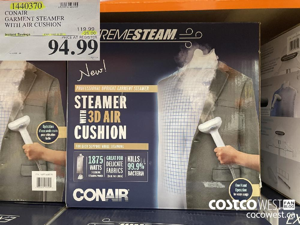 1440370 CONAIR GARMENT STEAMER WITH AIR CUSHION EXP. 2020-11-29 $94.99