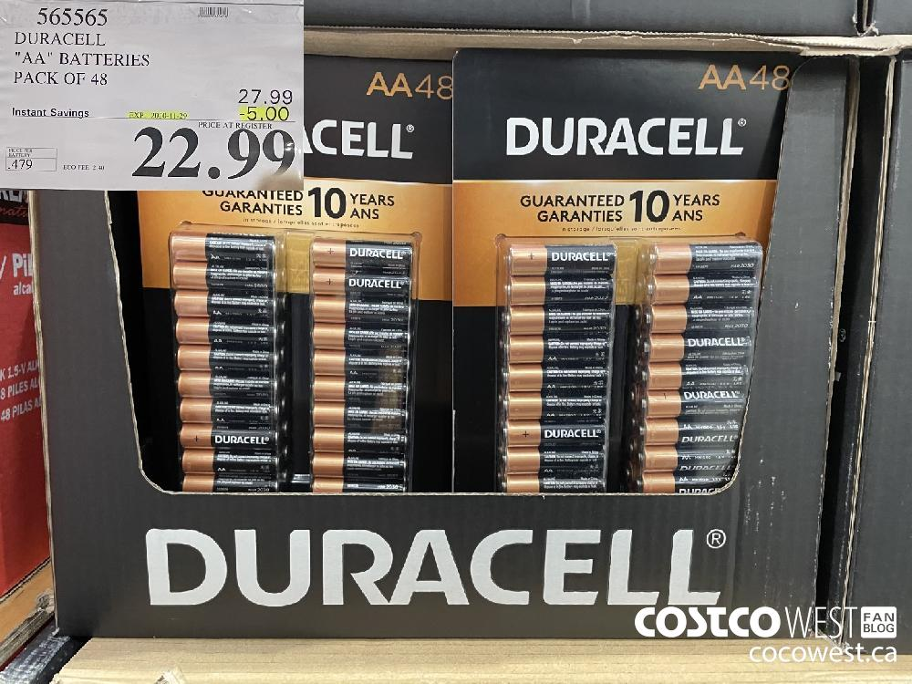 "565565 DURACELL ""AA"" BATTERIES PACK OF 48 EXP. 2020-11-29 $22.99"