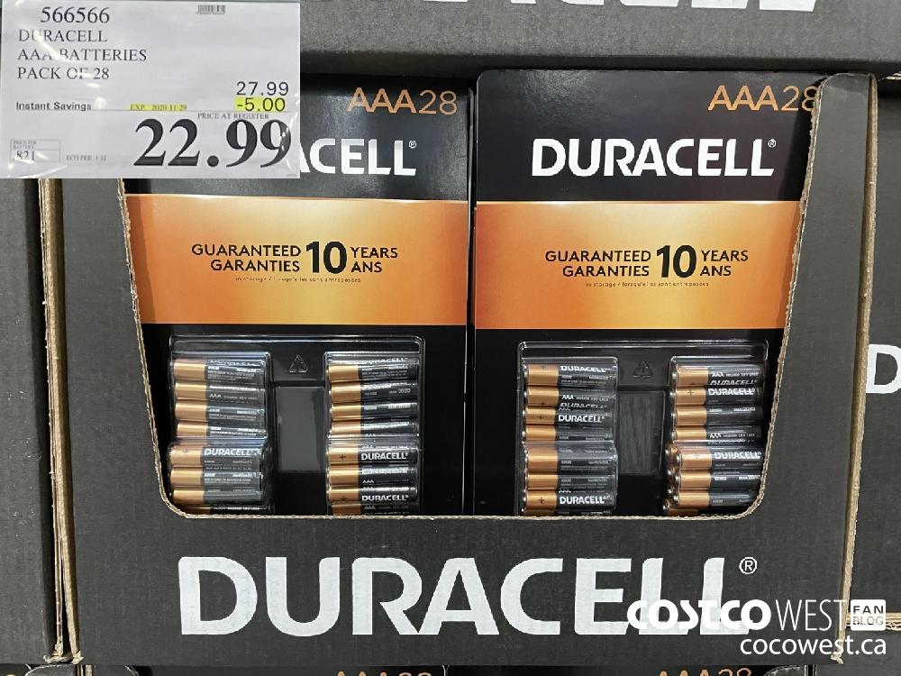 566566 DURACELL AAA BATTERIES PACK OF 28 EXP. 2020-11-29 $22.99