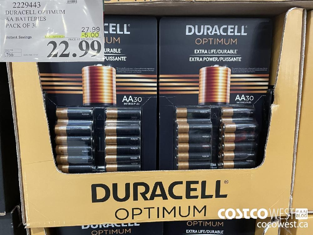 2229443 DURACELL OPTIMUM AA BATTERIES PACK OF 36 EXP. 2020-11-29 $22.99