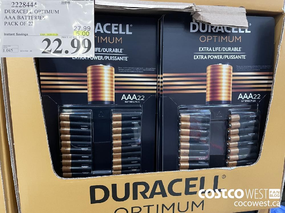 2228444 DURACELL OPTIMUM AAA BATTERIES PACK OF 22 EXP. 2020-11-29 $22.99