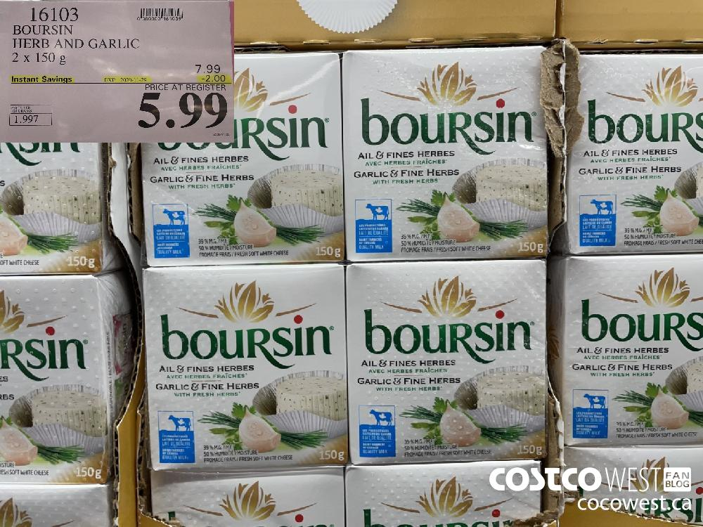 16103 BOURSIN HERB AND GARLIC 2 x 150g EXP. 2020-11-29 $5.99