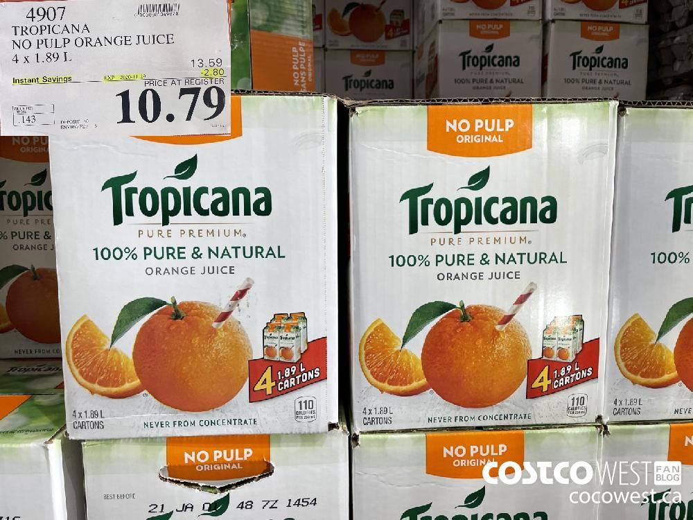 4907 TROPICANA NO PULP ORANGE JUICE 4 x 1.89 L EXP. 2020-11-29 $10.79