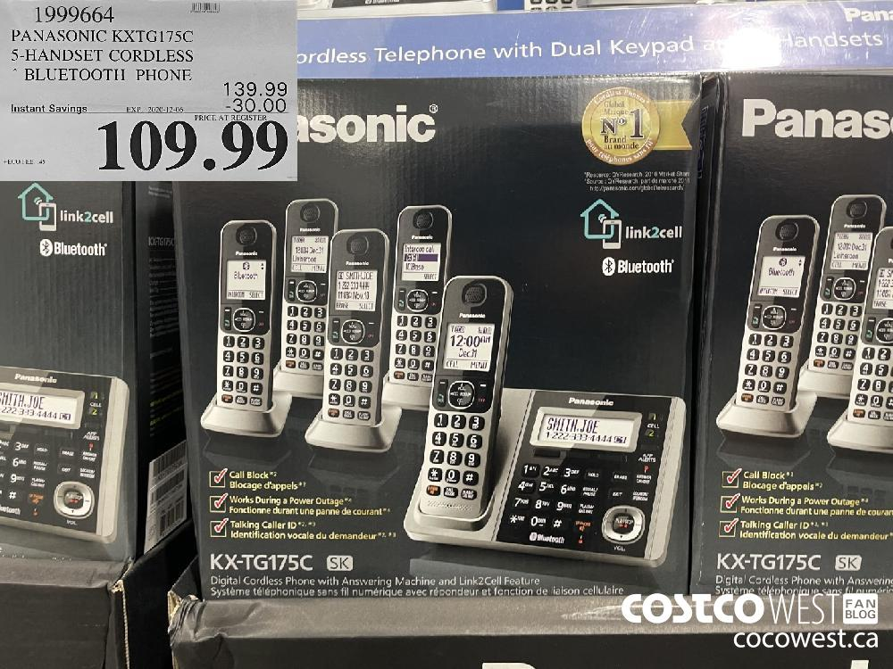 1999664 PANASONIC KXTG175C 5-HANDSET CORDLESS BLUETOOTH PHONE EXP. 2020-12-06 $109.99