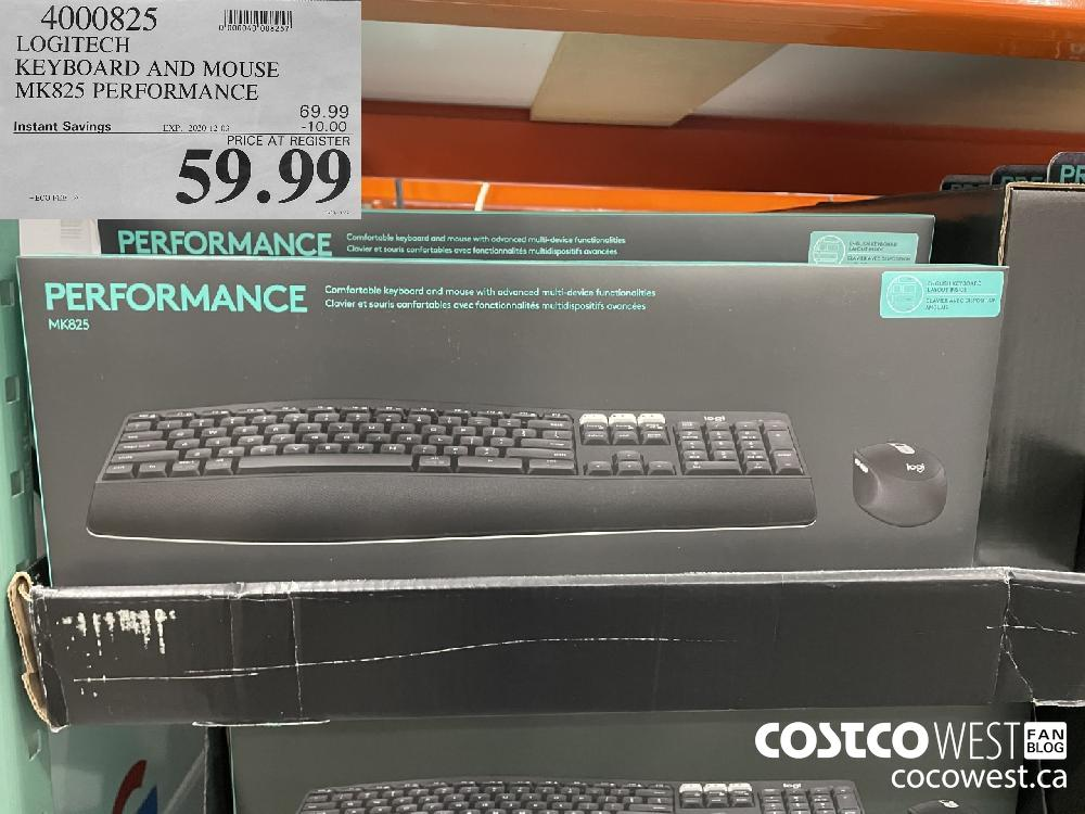 4000825 LOGITECH KEYBOARD AND MOUSE MK825 PERFORMANCE EXP. 2020-12-03 $59.99