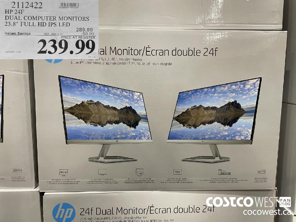 "2112422 HP 24F DUAL COMPUTER MONITORS 23.8"" FULL HD IPS LED EXP. 2020-11-30 $239.99"