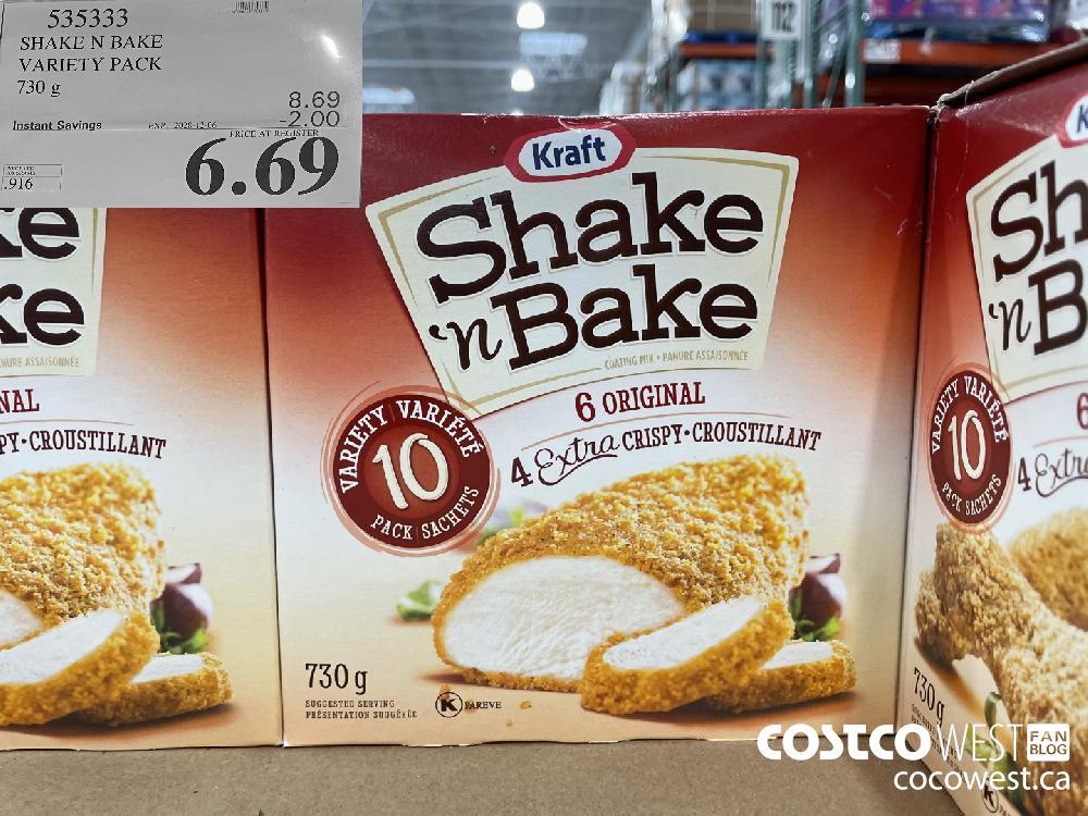535333 SHAKE N BAKE VARIETY PACK 730 g EXP. 2020-12-06 $6.69