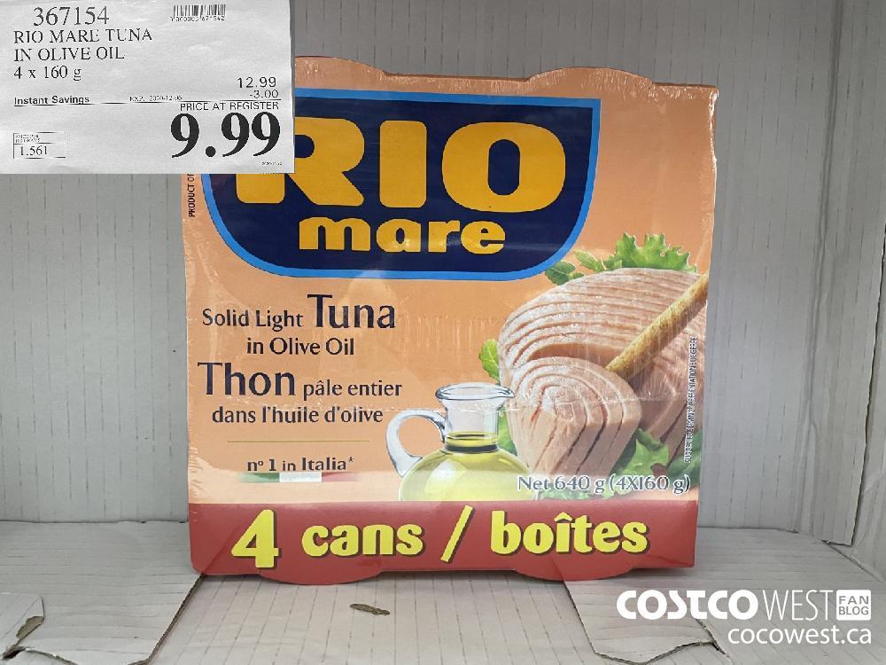 367154 RIO MARE TUNA IN OLIVE OIL 4 x 160 g EXP. 2020-12-06 $9.99
