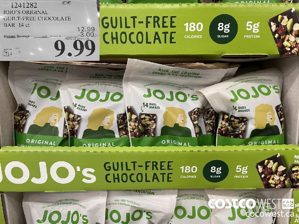 JOJO'S ORIGINAL GUILT-FREE CHOCOLATE BAR 14 ct EXP. 2020-12-06 $9.99