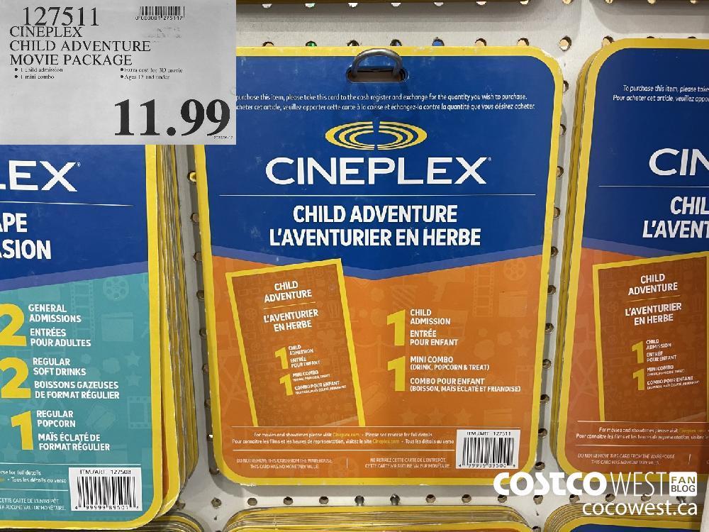 127511 CINEPLEX CHILD ADVENTURE MOVIE PACKAGE $11.99