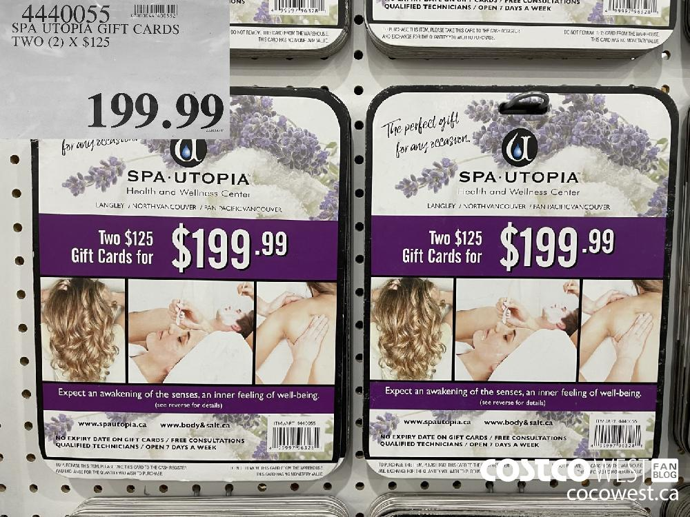 4440055 SPA UTOPIA GIFT CARDS. TWO (2) X $125 $199.99