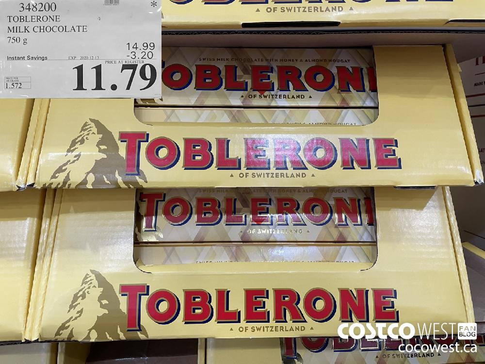 348200 TOBLERONE MILK CHOCOLATE 750 g EXP. 2020-12-13 $11.79