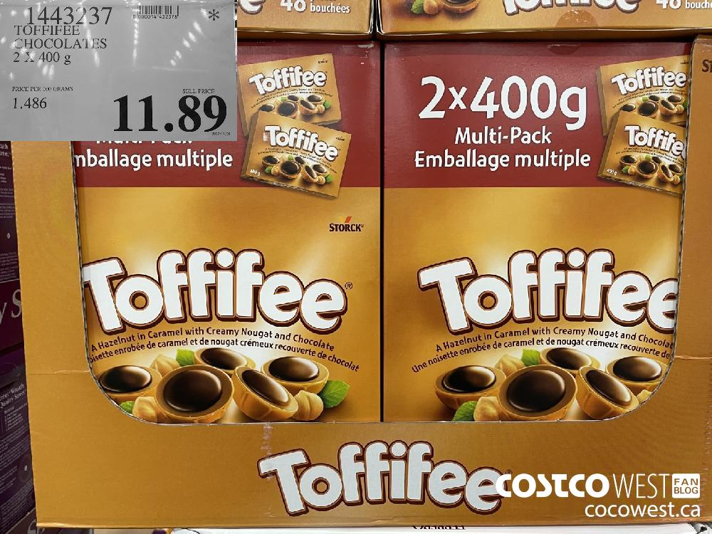 1443237 TOFFIFEE CHOCOLA1ES 2 x 400 g $11.89