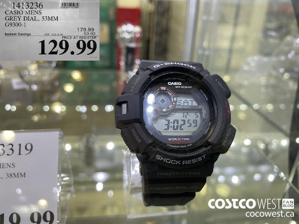1413236 CASIO MENS GREY DIAL 53MM G9300-1 EXP. 2020-12-06 $129.99