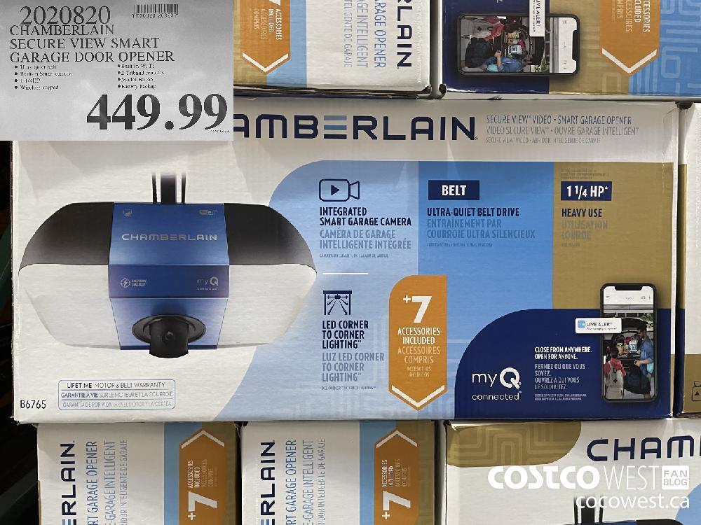 9020820 CHAMBERLAIN SECURE VIEW SMART GARAGE DOOR OPENER $449.99