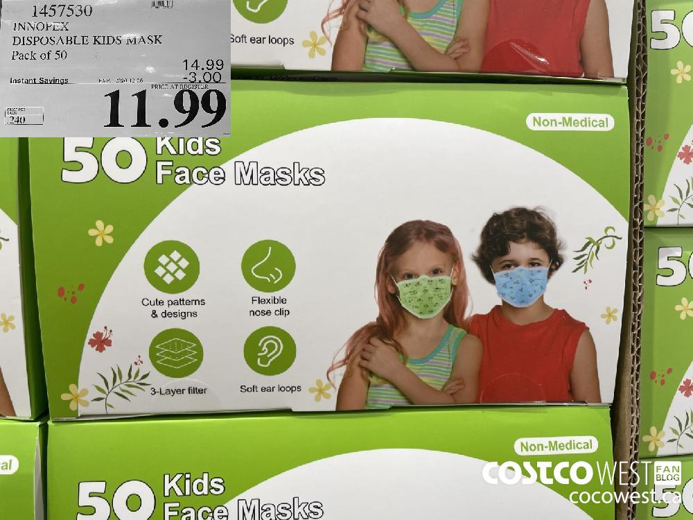 1457530 INNOPFEX DISPOSABLE KIDS MASK Pack of 50 EXP. 2020-12-06 $11.99