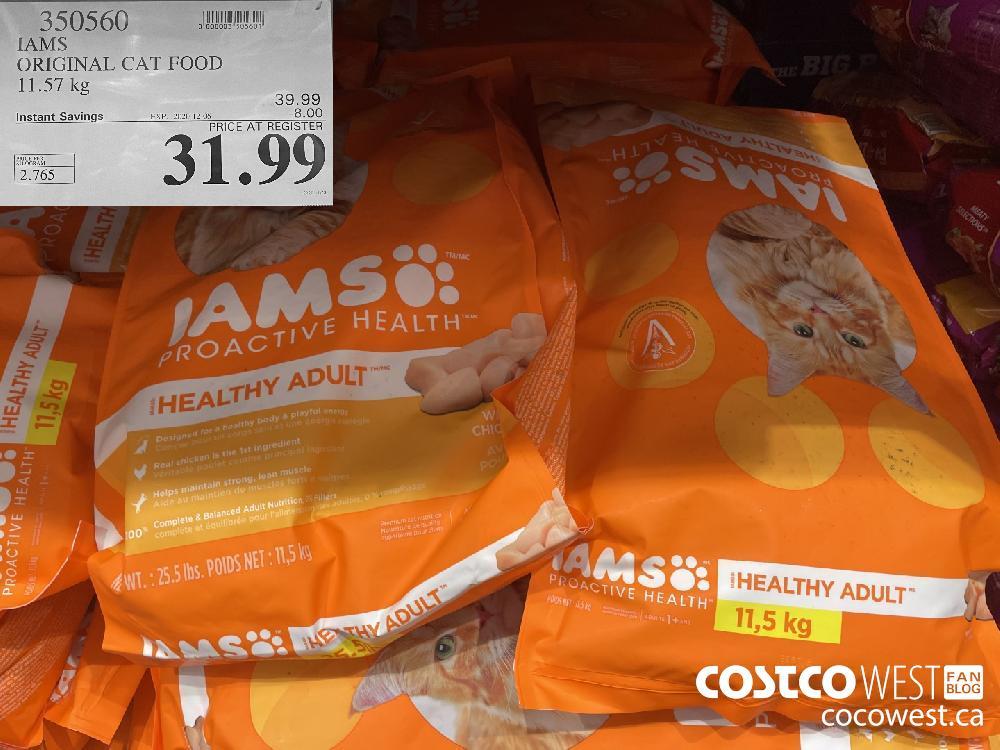 350560 IAMS ORIGINAL CAT FOOD 11.57 kg EXP. 2020-12-06 $31.99