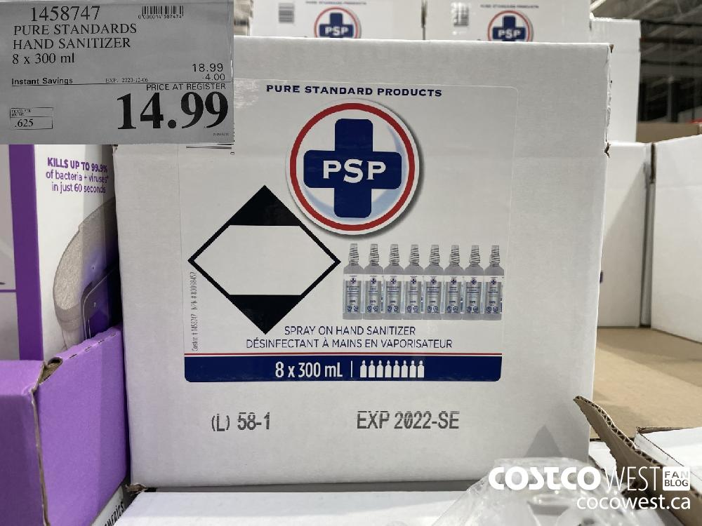 1458747 PURE STANDARDS HAND SANITIZER 8 x 300 ml EXP. 2020-12-06 $14.99