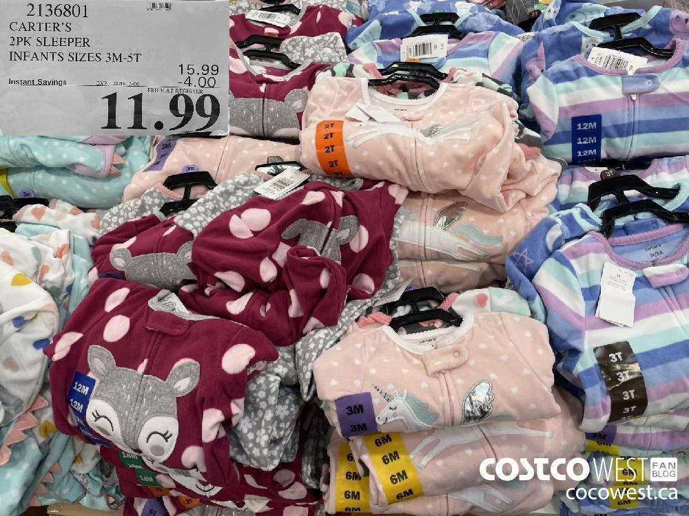2136801 CARTER'S 2PK SLEEPER INFANTS SIZES 3M-5T EXP. 2020-12-06 $11.99