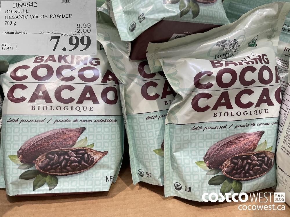 1099642 RODELLE ORGANIC COCOA POWDER 700 g EXP. 2020-12-13 $7.99