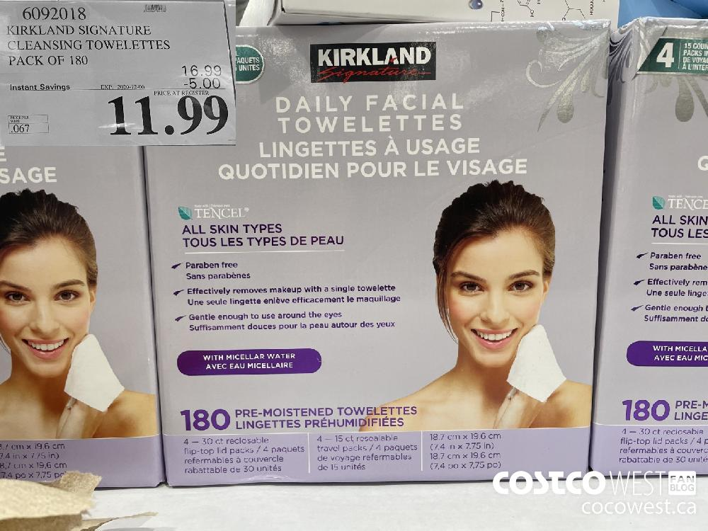 6092018 KIRKLAND SIGNATURE CLEANSING TOWELETTES PACK OF 180 EXP. 2020-12-06 $11.99
