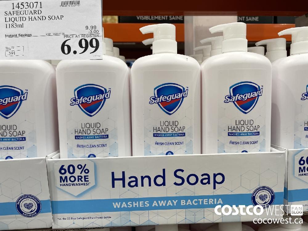 1453071 SAFEGUARD LIQUID HAND SOAP 1183ml EXP. 2020-12-06 $6.99