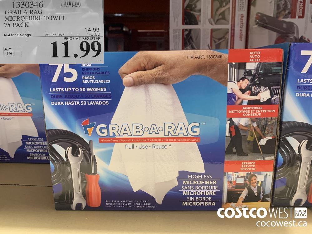 1330346 GRAB A RAG MICROFIBRE TOWEL 75 PACK EXP. 2021-01-03 $11.99