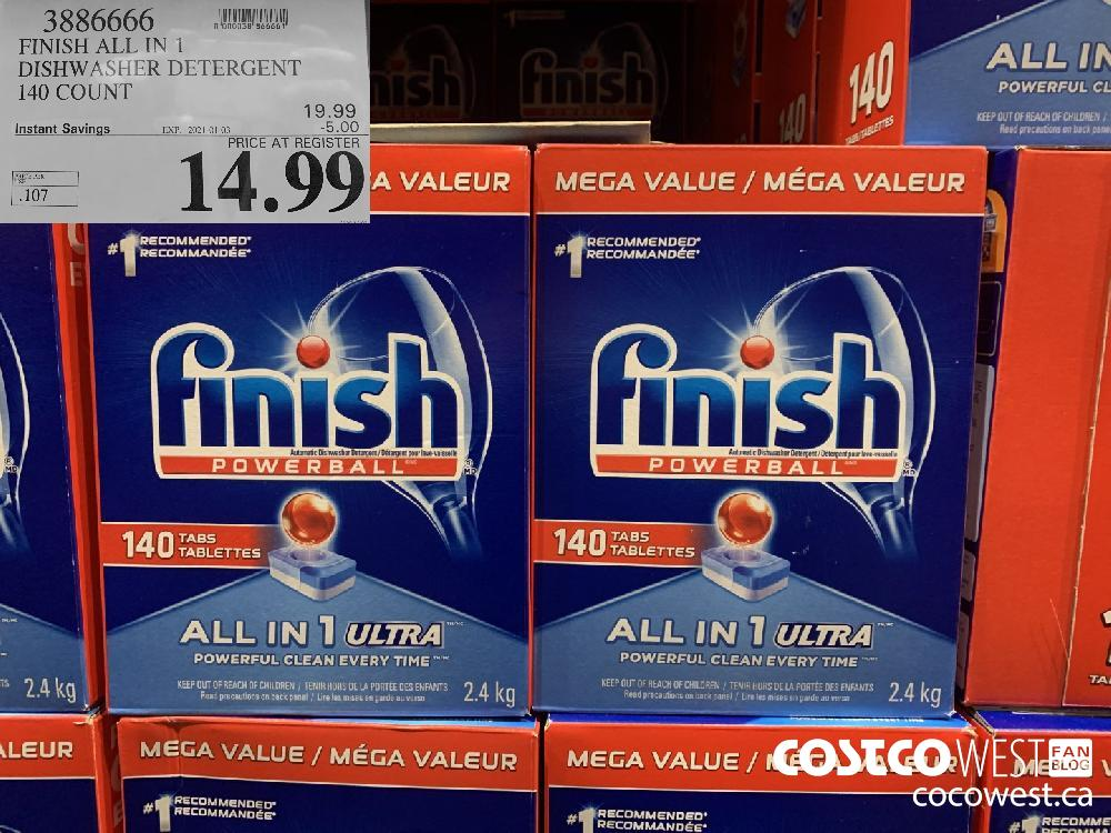 3886666 FINISH ALL IN 1 DISHWASHER DETERGENT 140 COUNT EXP. 2021-01-03 $14.99