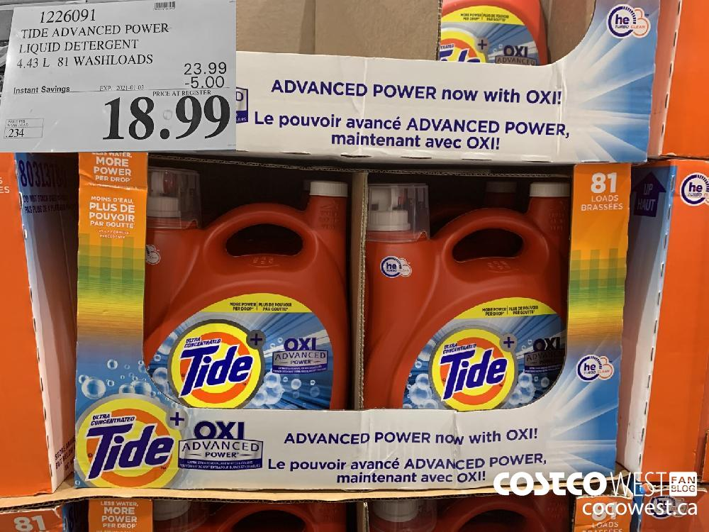 1226091 TIDE ADVANCED POWER LIQUID DETERGENT 4.43 L 81 WASHLOADS EXP. 2021-01-03 $18.99